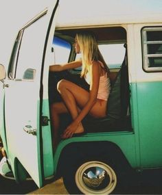 Beach Bohemian Girl & VW Bus.