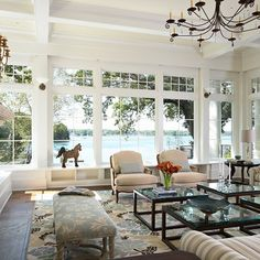 Sunrooms With French Doors And Spider Web Transom Windows Design Ideas, Pictures, Remodel and Decor