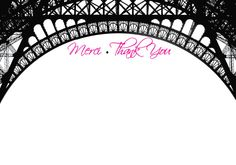 Paris Themed Thank You Note Cards – Merci Thank You