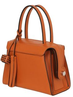 TOD'S - MEDIUM LEATHER TOP HANDLE BAG - TOP HANDLES - ORANGE - LUISAVIAROMA