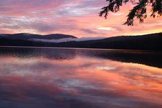 We love watching the sunrise on Lake Fairlee. It's foggy and beautiful!