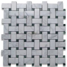 Bianco Carrara White Marble Basketweave with Ming Green Dot Polished Mosaic Tile #Bianco_Carrara_White_Marble #Ming_Green_Polished_Mosaic_Tile