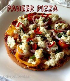 paneer pizza Veg Recipes, Indian Food Recipes, Vegetarian Recipes, Ethnic Recipes, Paneer Pizza, Vegetarian Platter, Food Hub, Eat Happy, Savoury Baking