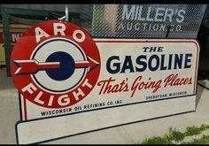 Rare Arro Flight Gasoline Sign