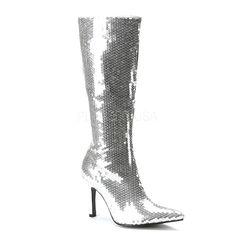 Funtasma Women's 'Lust-2001' Sequined Knee-high Stiletto Boots