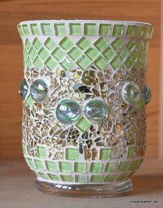 Windlicht grün gold 14 cm hoch von Mosaikkasten  Dekoration für Haus und Garten
