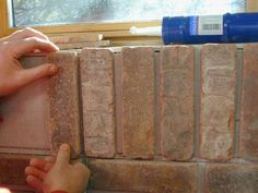 to Install Interior Brick Veneer Brick Veneer- fake brick wall Get rid off the ugly wood on the landing/staircase and replace with this.Brick Veneer- fake brick wall Get rid off the ugly wood on the landing/staircase and replace with this. Fake Brick Wall, Brick Face, Faux Brick, Brick And Stone, Brick Walls, Fireplace Brick, Farmhouse Fireplace, Fireplace Remodel, Do It Yourself Home