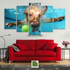 Underwater Dog Wall Art, Funny Labrador Dog Print on Canvas, Cute Labrador Canvas Artwork by GTCreativeArt on Etsy Canvas Artwork, Canvas Frame, Canvas Prints, Bird Wall Art, Home Wall Art, Underwater Dogs, Fantasy Forest, Animal Decor, Custom Canvas