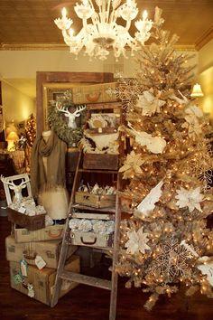 Vintage Christmas - poinsettias, ladder, suitcases, ornaments, reindeer, chandelier, bare frames, snowflakes