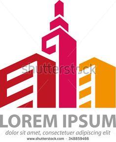 Vector abstract three building as a symbol or logo property, real estate company - stock vector