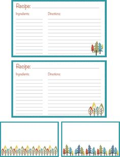 Little Green Thread: Recipe Cards (free printables)