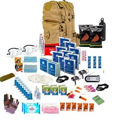 40L MOLLE Coyote Back Pack 72hr Rations, 4-500 ml of water, 2 packs Dextro, 4 glow sticks, 2 Orange survival bags, 2 packs washlets, 2 pairs of safety glasses, 2 FFP3 masks, 1 Wind Up Radio, 15m para cord, 2 tent pegs and 20 water purification tablets, 4 thermal blankets, 1 two-person survival blanket, 1 first aid kit, 2 dental gum, 1 bottle of hand sanitizer, 1 lighter, 1 waterproof tube matches, 8 Clinell wipes, 2 head lamps,  2 wind up torches, 2 ponchos, one notebook and pencil , 2 packs