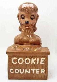 Vintage 1960's Cookie Counter Poodle Cookie Jar - Twin Winton..