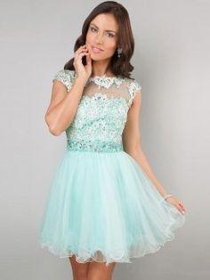 A-Line/Princess High Neck Sleeveless Beading Applique Tulle Short/Mini Dresses