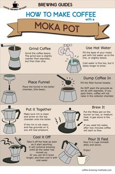 How to make coffee with a moka pot - infographic brewing guide. Make espresso at home with a cheap device. How to make coffee with a moka pot - infographic brewing guide. Make espresso at home with a cheap device. Espresso At Home, Best Espresso, Espresso Maker, Espresso Coffee, Coffee Tasting, Coffee Drinkers, Coffee Beans, Coffee Cups, Coffee Coffee