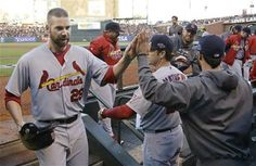 Game 2 of the NLCS-Carp gets congrats after hitting an RBI double 10-15-12