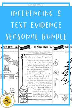 Inferencing and Text evidence seasonal bundle for speech therapy and more!