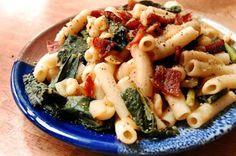 White Bean and Kale Pasta with Smokey Bacon