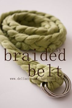 Want another great way to use old T-shirts? Well…how about a braided belt? It's pretty easy. The part that takes the most time is the braiding really. To start you just cut four strips of T-shirt. I cut mine 2.5 inches wide. Pin the ends together and hold it down with a can or a …