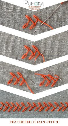 Pumora's embroidery stitch-lexicon: the feathered chain stitch