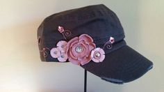 Check out this item in my Etsy shop https://www.etsy.com/listing/249104219/grey-cadet-cap-with-handmade-pink