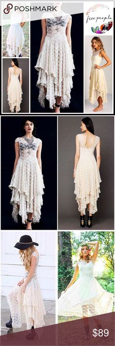 """FREE PEOPLE Lace Slip Maxi Dress RETAIL PRICE: $98 NEW WITH TAGS   FREE PEOPLE Lace Slip Maxi Dress   * Beautiful semi-sheer bodice, stretch-to-fit embellished eyelet crochet floral lace   * Ballet neck & cap sleeves   * Pullover style, semi pleated, layered & tiered skirt, semi open back  * A-line, flowy, relaxed fit  * Approx 44""""-51"""" long;Soft & stretchy fabric  Fabric: Nylon & spandex   Color: Ivory  SEARCH # boho French court No Trades ✅Bundle discount✅ Free People Dresses Maxi"""