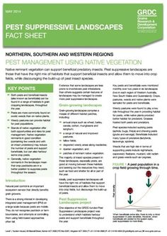 Pest Suppressive Landscapes fact sheet cover page