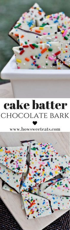 Chocolate Bark Cake Batter Chocolate Bark I Batter Chocolate Bark I Candy Recipes, Sweet Recipes, Baking Recipes, Dessert Recipes, Yummy Treats, Delicious Desserts, Sweet Treats, Yummy Food, Yummy Snacks