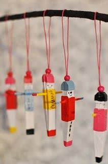 Christmas-Craft ideas-Clothes pin kid ornaments