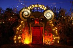 """Mouth entrance at John Dunivant's """"Theatre Bizarre"""" in Detroit. Theatre Bizarre is an annual Halloween masquerade staged in a largely abandoned residential neighborhood on the northernmost edge of Detroit #mouth #door - Carefully selected by GORGONIA www.gorgonia.it"""