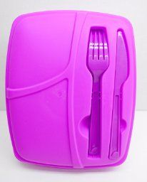 Amazon.com: 3-compartment Food Container with Lid - Set of Cutlery Included, Bento Lunch Box - Lunch Containers - Purple - Set of 3: Kitchen & Dining