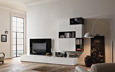 Affianco Wall Unit by Sangiacomo, Italy in matt bianco and gloss nero lacquer. Manufactured By San Giacomo. Ral Colour Chart, San Giacomo, Laminated Mdf, Living Room Inspiration, Open Shelving, House Design, Furniture, Interior Design, Wall