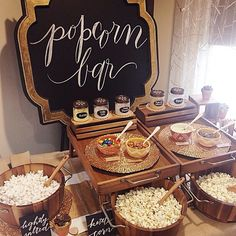 Popcorn bar - styled by The Perfect Palette + Lauren Rae Photography // party food Dessert Bars, Dessert Table, Bar A Bonbon, Silvester Party, Cupcakes, Food Stations, Grad Parties, Birthday Parties, Party Time