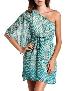 Belted One Shoulder Aztec Dress