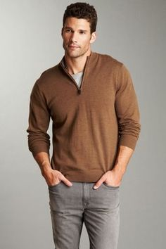 this brown sweater looks great with the grey jeans