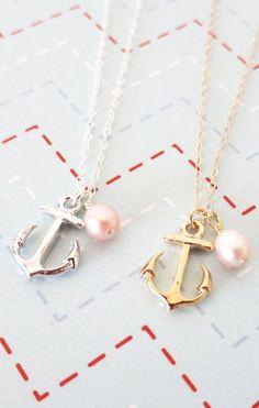 Silver Anchor necklace  simple silver necklace by GlitzAndLove