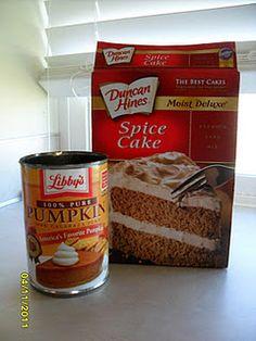 Spice cake mix + 1 can of pumpkin (+ pumpkin pie spice, optional) = pumpkin cupcakes {bake according to box}
