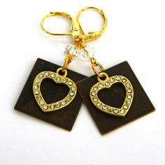 A personal favorite from my Etsy shop https://www.etsy.com/listing/266134630/gold-heart-earrings-swarovski-crystals