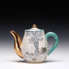 Julia Galloway's still life teapot. To learn more about Galloway's work from throughout her career, check  out the March 2015 issue of Ceramics Monthly. http://ceramicartsdaily.org/ceramics-monthly/ceramics-monthly-march-2015/