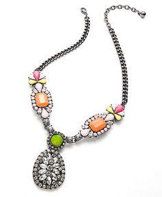 Bar III Silver-Tone Multi-Stone Statement Necklace