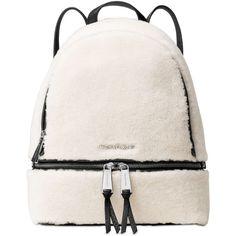 Michael Michael Kors Rhea Zip Medium Backpack ($358) ❤ liked on Polyvore featuring bags, backpacks, michael kors bags, michael kors backpack, fur bag, white backpack and zipper bag