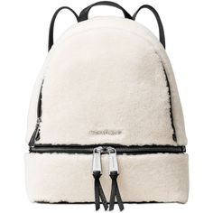 Michael Michael Kors Rhea Zip Medium Backpack ($358) ❤ liked on Polyvore featuring bags, backpacks, michael kors bags, michael kors backpack, fur bag, white backpack and zipper bag