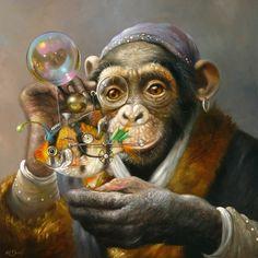 'Eureka' Original painting by Wim Bals 22 x 22 cm Oil on panel Monkey Art, Animal Heads, Visionary Art, Watercolor Animals, Cool Pets, Surreal Art, Pet Portraits, New Art, Fantasy Art