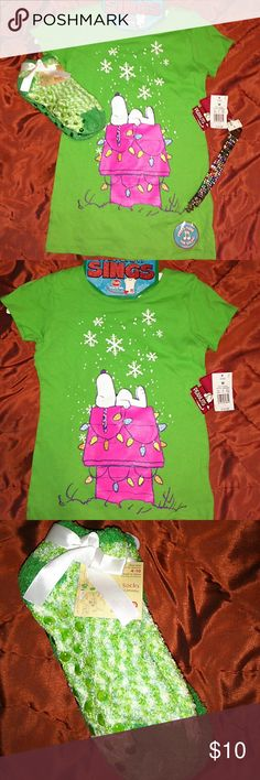 Girls Bundle Shirt sings!!!! All NEW 1 hour SALE Snoopy Shirt that sings 2 pair of socks with grippers and a Blinged out bracelet!!!!! Shirts & Tops Tees - Short Sleeve