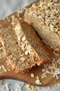 This awesome recipe for Coconut Quinoa Banana Bread is sure to be a hit at breakfast time at your house. Quinoa gives this gluten free bread recipe a super chewy texture that you would usually get from nuts and raisins baked into the bread.