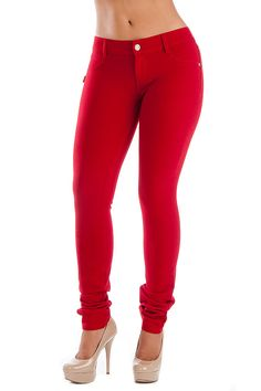 Red Skinny Colored Moleton Pants