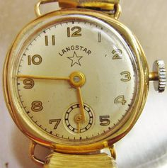 9ct Gold #1957 #Langstar Swiss #Watch Serviced, £135obo by @watchesnrings -  Ladies 9ct Gold 1957 Langstar Swiss Watch and Speidel for Sale  The dial is in lovely condition with Gold Hands, Numbers and a sub dial and has a superb Art Deco look with bold easy read numbers  The watch comes on an expanding bracelet, stamped 1/30 Rolled Gold Speidel USA, there is some wear to the Bracelet as shown in photos
