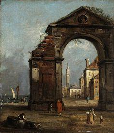 Francesco Guardi (Venise, 1712 - 1793), Caprice, avec arc triomphal en ruine et paysage du bord de la lagune,