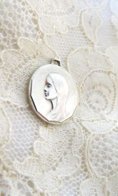 French Holy Mary / Marie / Madonna small  silver medal  catholic virgin miracle holy mother religious jewelry by 2shoppingdiva on Etsy