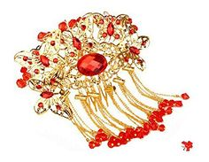 Amazing Traditional Chinese Wedding Gold Butterfly Tassels Hair Comb -- Details can be found by clicking on the image.